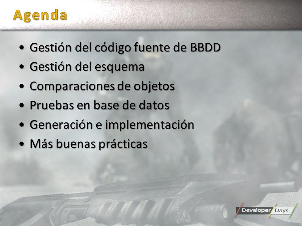 Gestión del código fuente de BBDDGestión del código fuente de BBDD Gestión del esquemaGestión del esquema Comparaciones de objetosComparaciones de obj