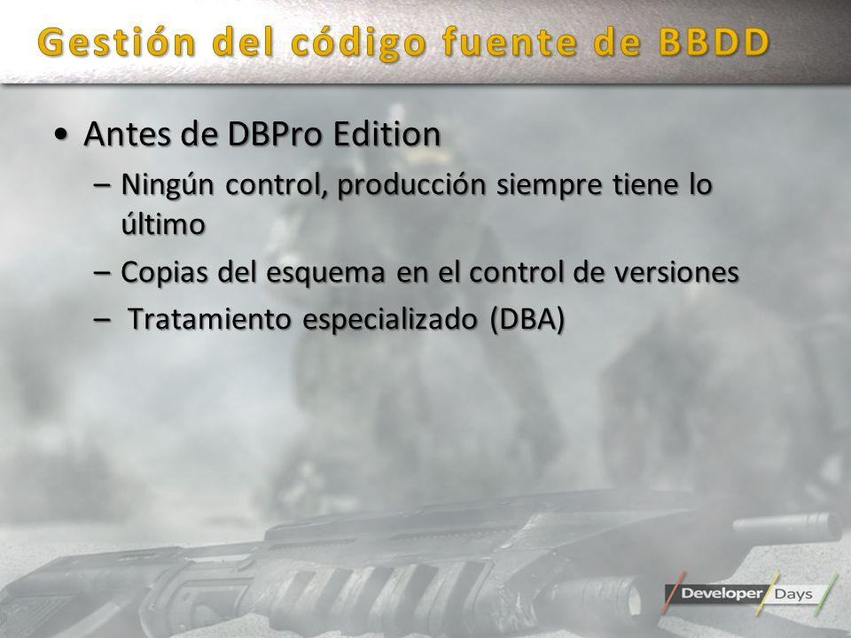 Antes de DBPro EditionAntes de DBPro Edition –Ningún control, producción siempre tiene lo último –Copias del esquema en el control de versiones – Trat
