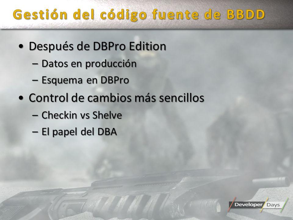 Después de DBPro EditionDespués de DBPro Edition –Datos en producción –Esquema en DBPro Control de cambios más sencillosControl de cambios más sencill