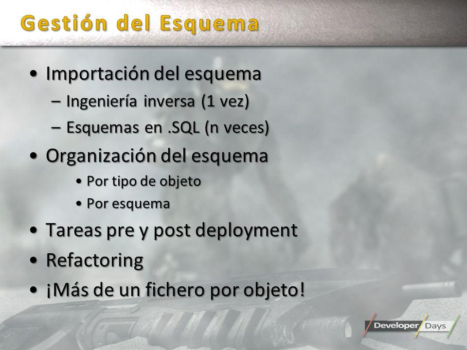 Importación del esquemaImportación del esquema –Ingeniería inversa (1 vez) –Esquemas en.SQL (n veces) Organización del esquemaOrganización del esquema