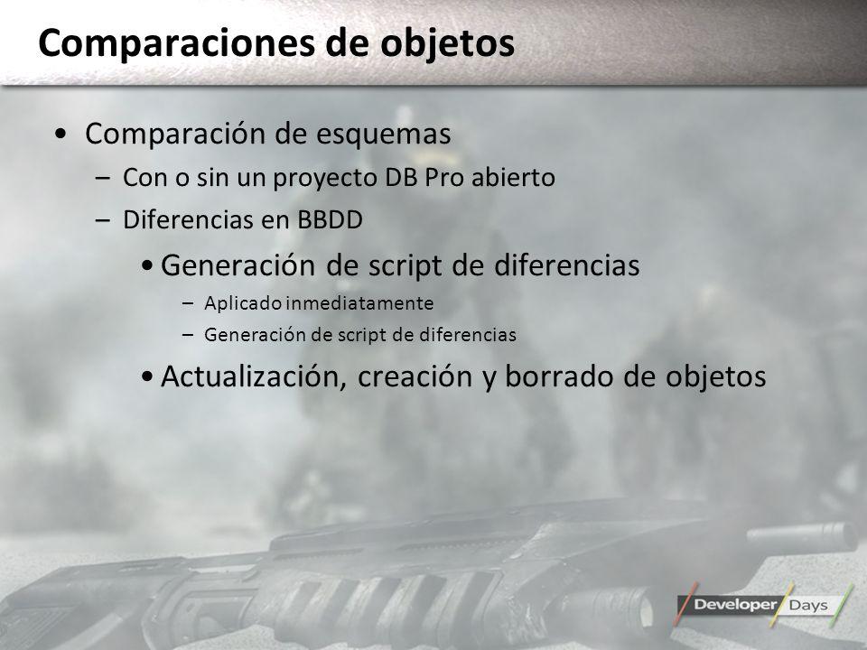 Comparaciones de objetos Comparación de esquemas –Con o sin un proyecto DB Pro abierto –Diferencias en BBDD Generación de script de diferencias –Aplic