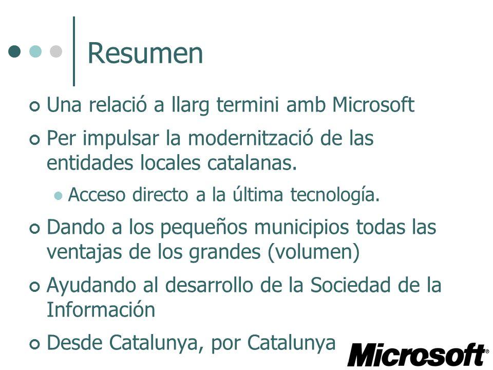 Resumen Una relació a llarg termini amb Microsoft Per impulsar la modernització de las entidades locales catalanas. Acceso directo a la última tecnolo