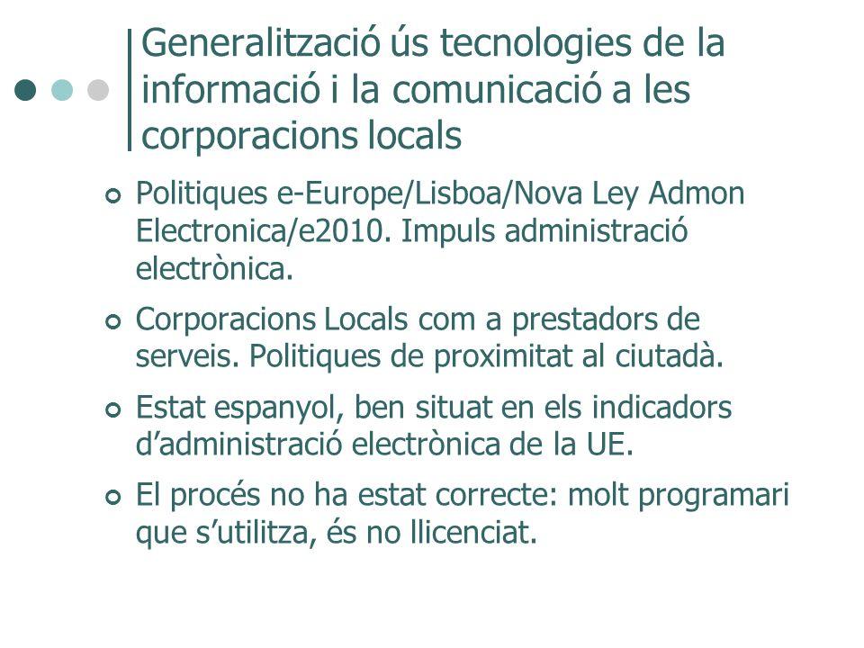 Generalització ús tecnologies de la informació i la comunicació a les corporacions locals Politiques e-Europe/Lisboa/Nova Ley Admon Electronica/e2010.