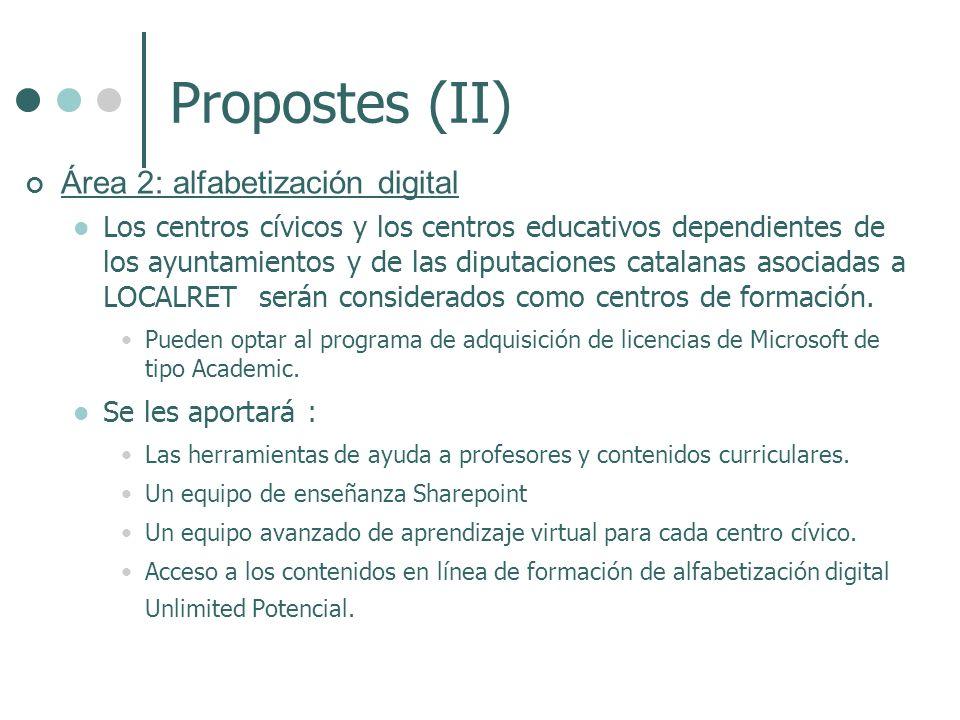 Propostes (II) Área 2: alfabetización digital Los centros cívicos y los centros educativos dependientes de los ayuntamientos y de las diputaciones catalanas asociadas a LOCALRET serán considerados como centros de formación.