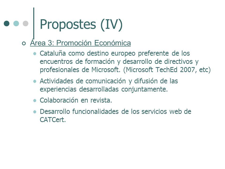 Propostes (IV) Área 3: Promoción Económica Cataluña como destino europeo preferente de los encuentros de formación y desarrollo de directivos y profesionales de Microsoft.