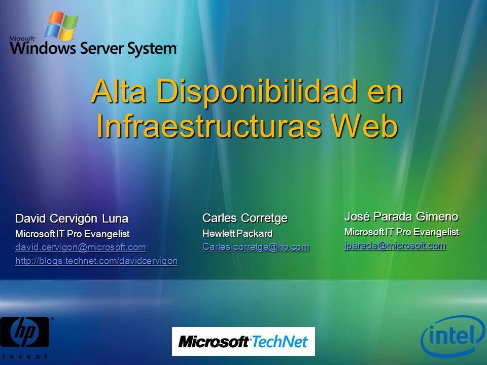 Alta Disponibilidad en Infraestructuras Web José Parada Gimeno Microsoft IT Pro Evangelist jparada@microsoft.com David Cervigón Luna Microsoft IT Pro