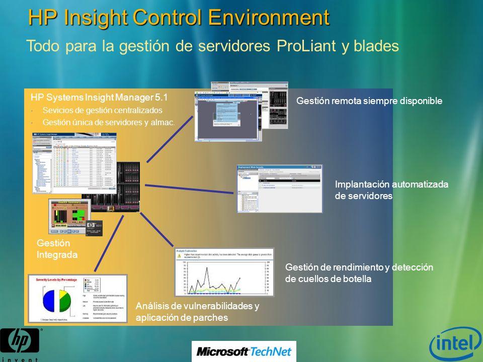 HP Insight Control Environment Todo para la gestión de servidores ProLiant y blades HP Systems Insight Manager 5.1 Sevicios de gestión centralizados G