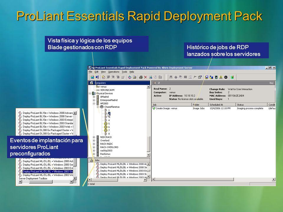 Eventos de implantación para servidores ProLiant preconfigurados ProLiant Essentials Rapid Deployment Pack Histórico de jobs de RDP lanzados sobre los