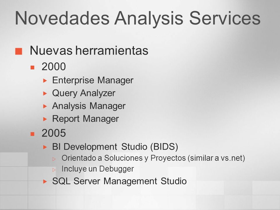 Novedades Analysis Services Nuevas herramientas 2000 Enterprise Manager Query Analyzer Analysis Manager Report Manager 2005 BI Development Studio (BID
