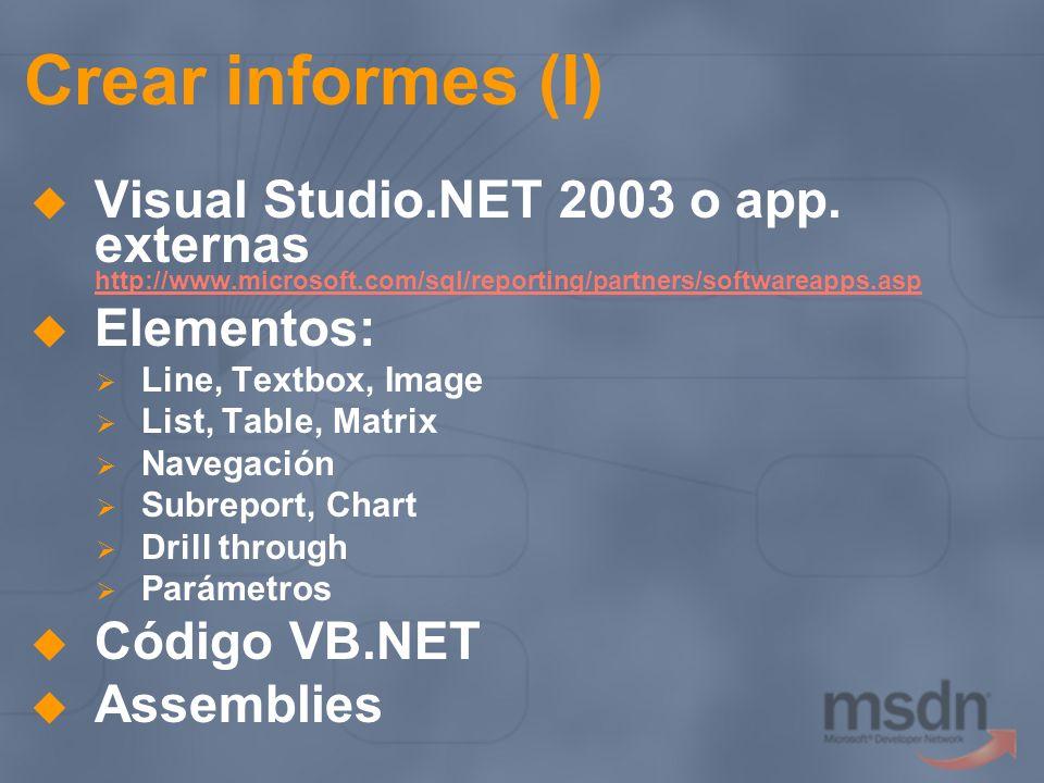 Crear informes (I) Visual Studio.NET 2003 o app. externas http://www.microsoft.com/sql/reporting/partners/softwareapps.asp http://www.microsoft.com/sq
