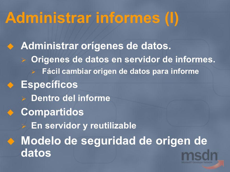 Administrar informes (I) Administrar orígenes de datos. Origenes de datos en servidor de informes. Fácil cambiar origen de datos para informe Específi