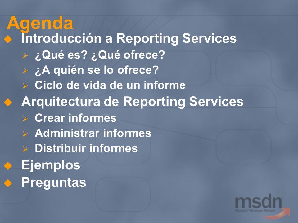 Agenda Introducción a Reporting Services ¿Qué es? ¿Qué ofrece? ¿A quién se lo ofrece? Ciclo de vida de un informe Arquitectura de Reporting Services C