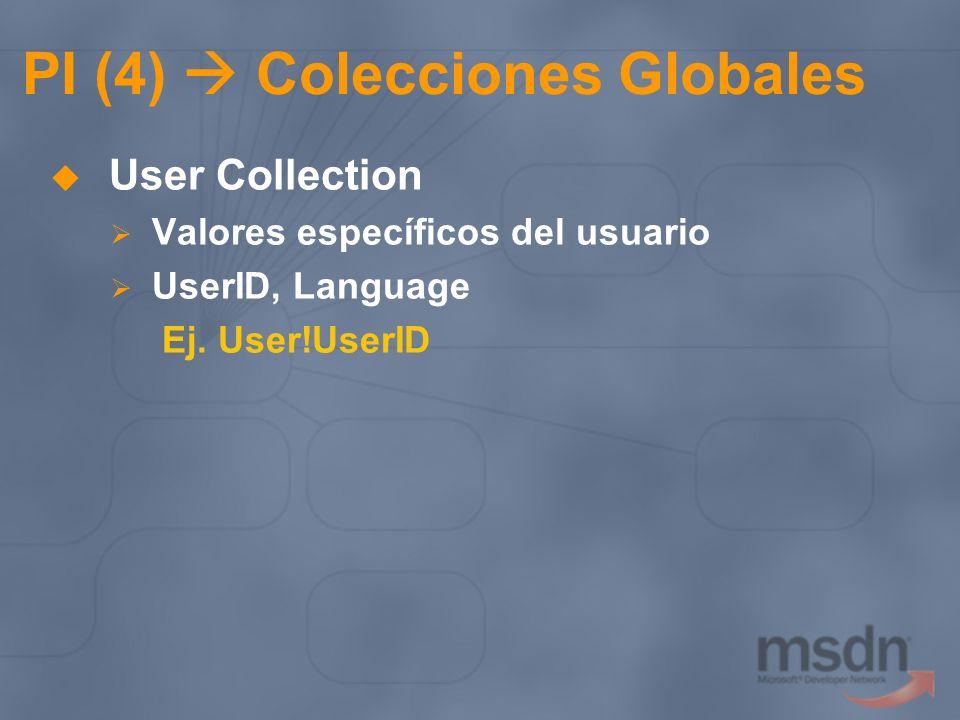 PI (4) Colecciones Globales User Collection Valores específicos del usuario UserID, Language Ej. User!UserID