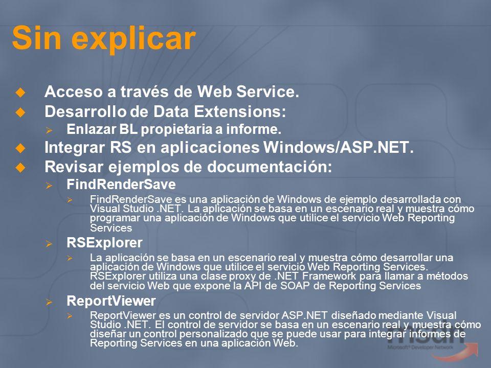 Sin explicar Acceso a través de Web Service. Desarrollo de Data Extensions: Enlazar BL propietaria a informe. Integrar RS en aplicaciones Windows/ASP.