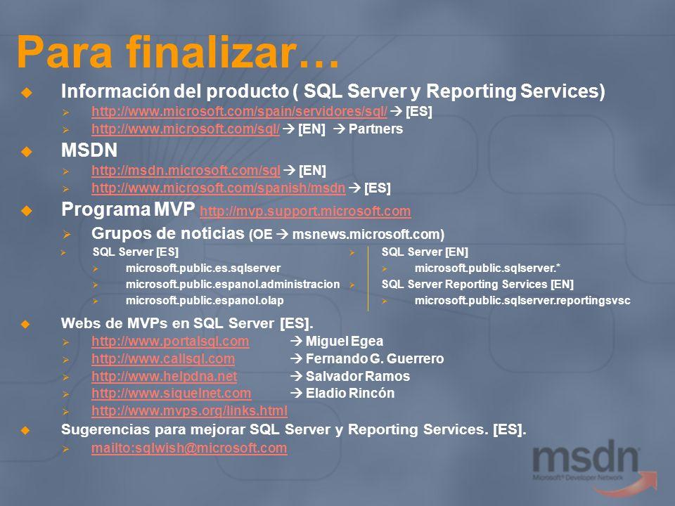 Para finalizar… Información del producto ( SQL Server y Reporting Services) http://www.microsoft.com/spain/servidores/sql/ [ES] http://www.microsoft.c