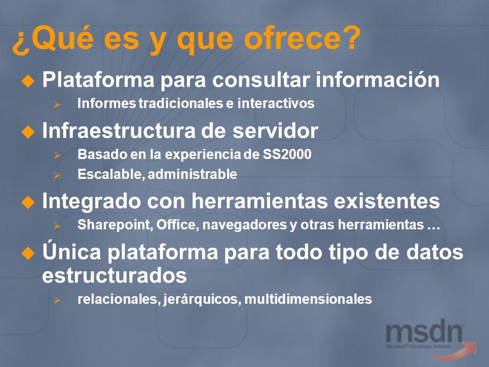 ¿Qué es y que ofrece? Plataforma para consultar información Informes tradicionales e interactivos Infraestructura de servidor Basado en la experiencia