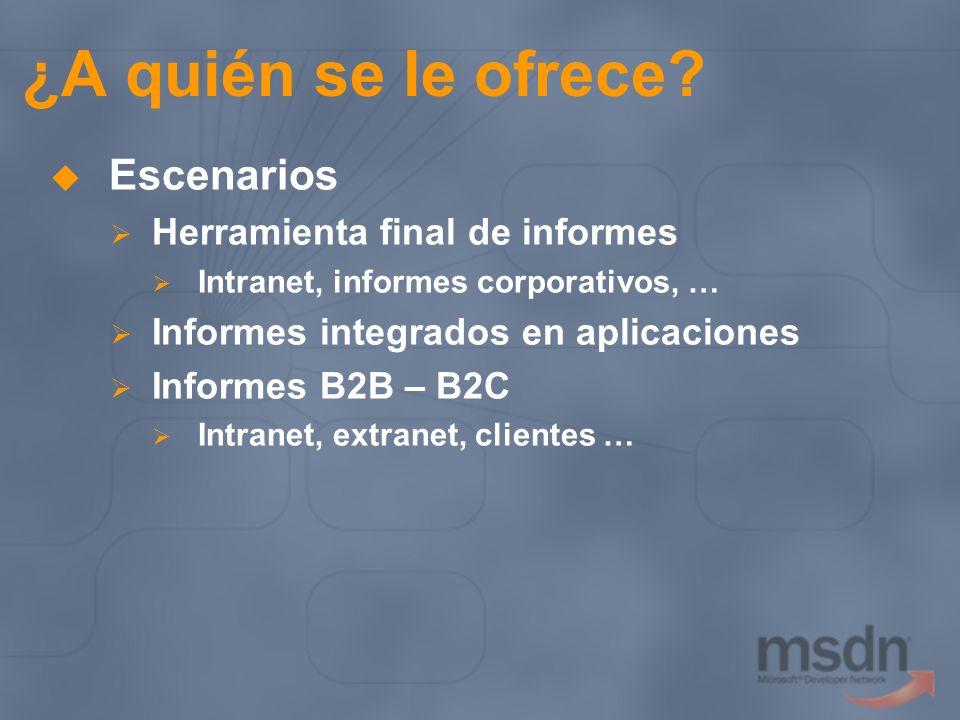 ¿A quién se le ofrece? Escenarios Herramienta final de informes Intranet, informes corporativos, … Informes integrados en aplicaciones Informes B2B –