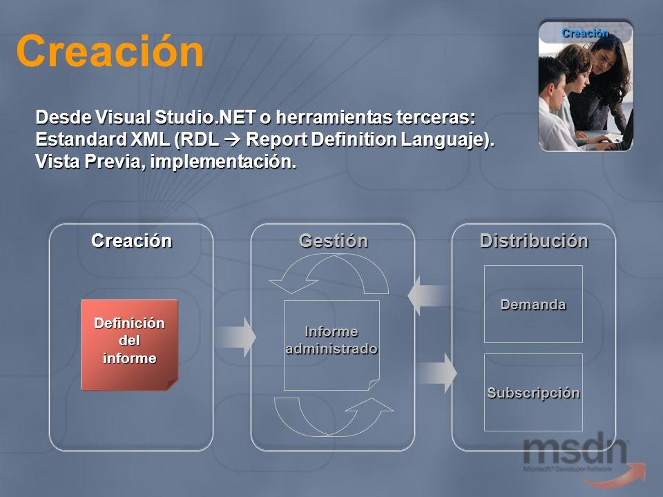 Creación Desde Visual Studio.NET o herramientas terceras: Estandard XML (RDL Report Definition Languaje). Vista Previa, implementación. Definición del