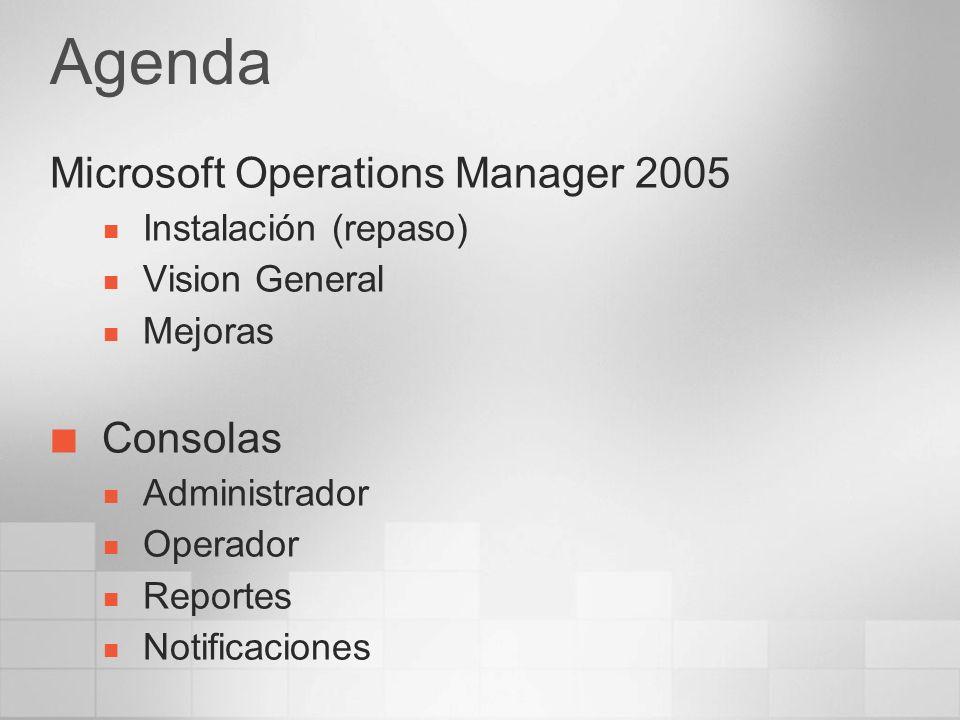 Agenda Microsoft Operations Manager 2005 Instalación (repaso) Vision General Mejoras Consolas Administrador Operador Reportes Notificaciones