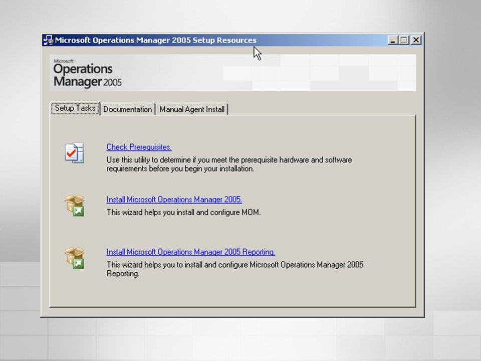 MOM 2005 Management PackNúmero de Reportes Tipo Exchange 2000 & 2003 Server34RTM Internet Information Services6WEB MOM 200533RTM Security (MBSA)2RTM SMS 200344RTM SQL Server 200012RTM Terminal Server4WEB Virtual Server 20054WEB Web Services6WEB Windows Active Directory14RTM Windows Server Cluster2RTM Windows DNS3RTM Windows Server (2000, 2003, NT4) 27RTM TOTAL 13193