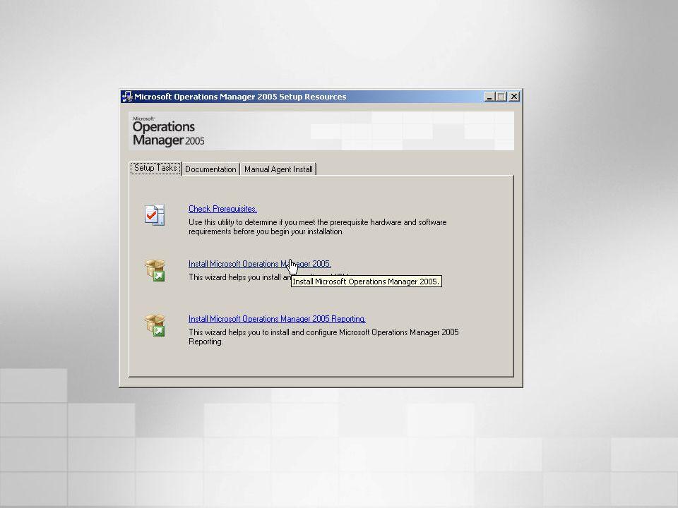 MOM 2000 SP1 MOM 2005 # Agentes (por grupo de configuración)20004000 2x más Tiempo de llegada de Alerta (1000 nodos) 600 segs < 30 segs 20x más rápido Heartbeats (1000 nodos) >600 segs 30 segs 20x más rápido Descubrimiento (1000 nodos) 15 mins 3 mins 5x más rápido Instalación remota (1000 agentes) 30 mins 12 mins 2.5x más rápido Espacio para el Agente (detenido) 22 MB 3.5 MB 6.3x menos Espacio para Agente (Monitoreando Exchange) 40+ MB 18 MB 2.2x menos MOM 2005 Mejoras