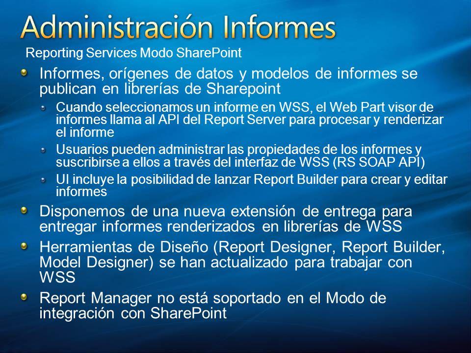 Informes, orígenes de datos y modelos de informes se publican en librerías de Sharepoint Cuando seleccionamos un informe en WSS, el Web Part visor de