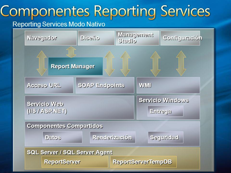 SQL Server / SQL Server Agent Componentes Compartidos Servicio Web (IIS / ASP.NET) Servicio Windows Acceso URL SOAP Endpoints Datos WMI Entrega Seguri