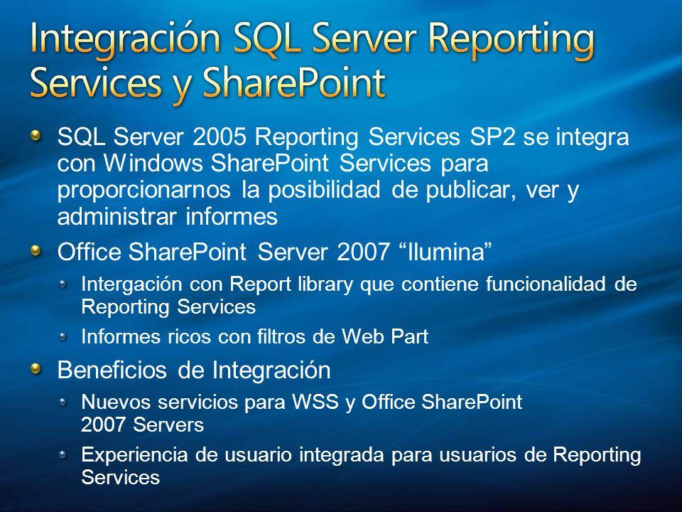 SQL Server 2005 Reporting Services SP2 se integra con Windows SharePoint Services para proporcionarnos la posibilidad de publicar, ver y administrar i