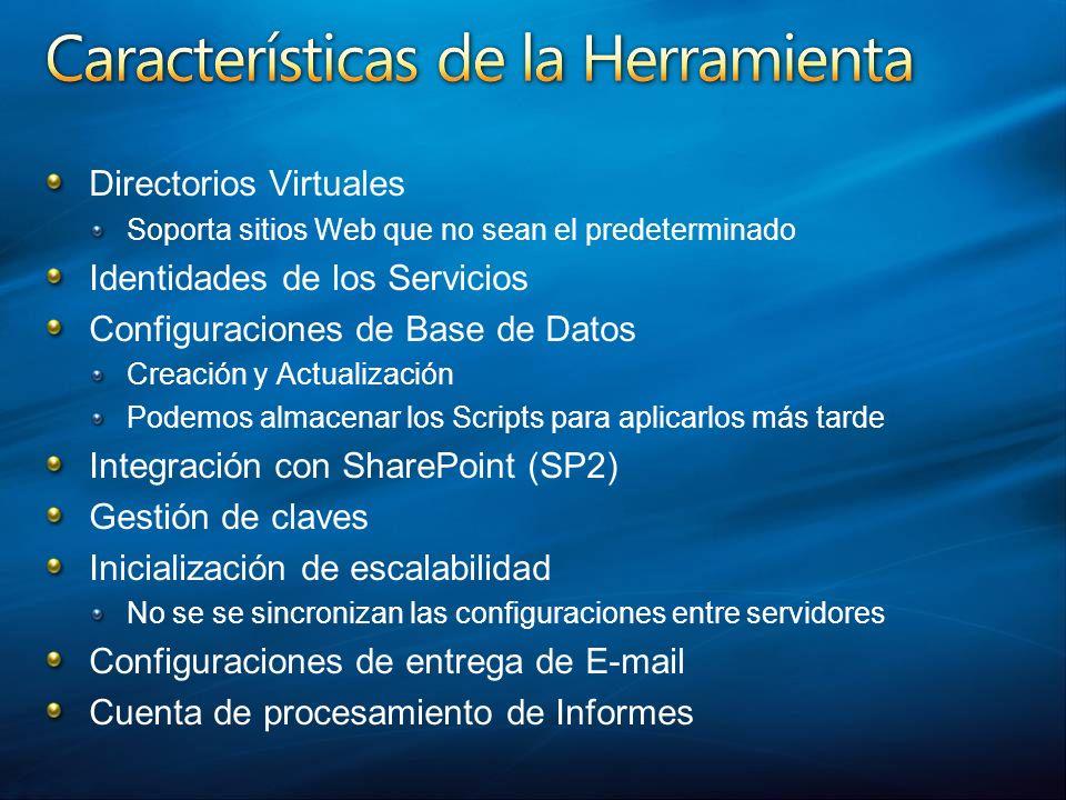 Directorios Virtuales Soporta sitios Web que no sean el predeterminado Identidades de los Servicios Configuraciones de Base de Datos Creación y Actual