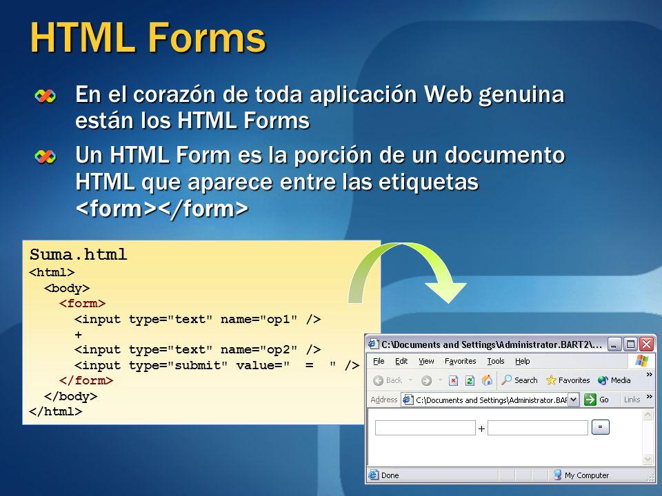 HTML Forms En el corazón de toda aplicación Web genuina están los HTML Forms Un HTML Form es la porción de un documento HTML que aparece entre las eti