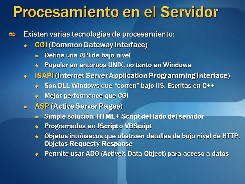 Procesamiento en el Servidor Existen varias tecnologías de procesamiento: CGI (Common Gateway Interface) CGI (Common Gateway Interface) Define una API