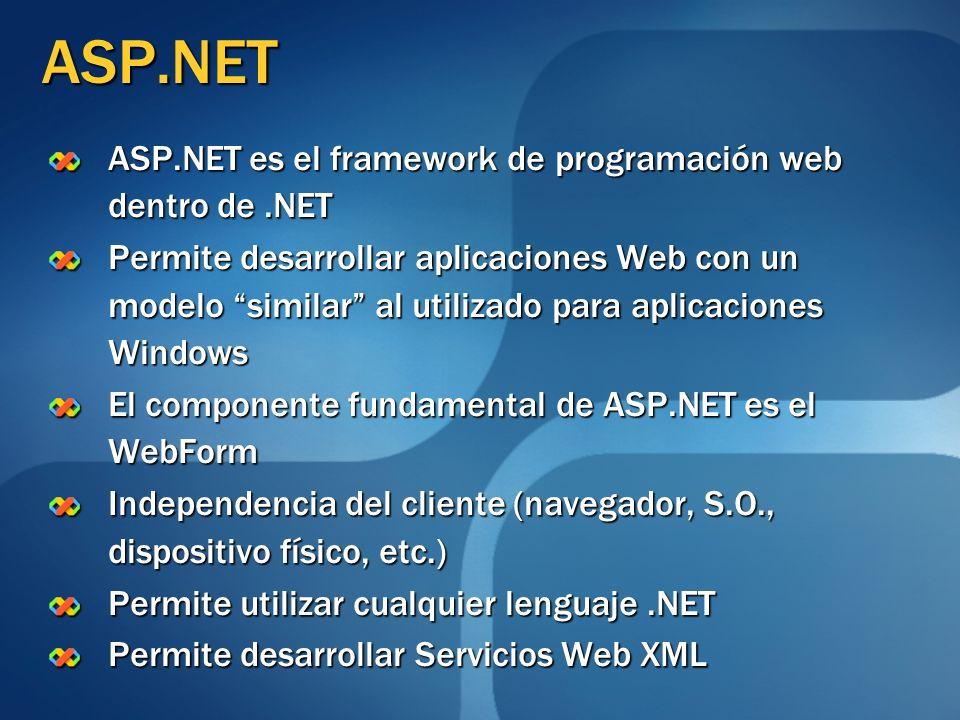 ASP.NET ASP.NET es el framework de programación web dentro de.NET Permite desarrollar aplicaciones Web con un modelo similar al utilizado para aplicac