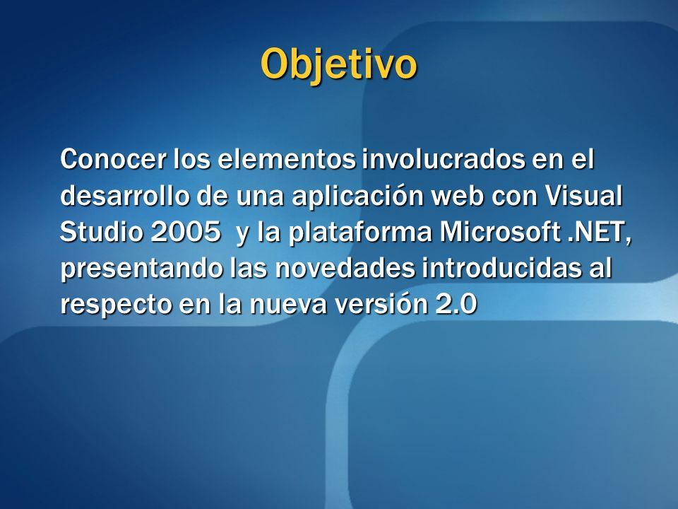 Objetivo Conocer los elementos involucrados en el desarrollo de una aplicación web con Visual Studio 2005 y la plataforma Microsoft.NET, presentando l