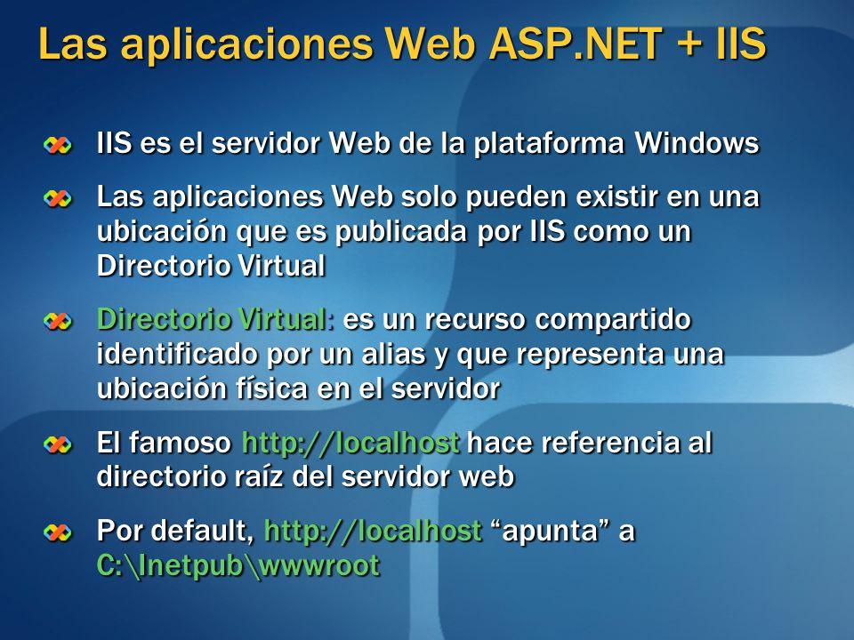 Las aplicaciones Web ASP.NET + IIS IIS es el servidor Web de la plataforma Windows Las aplicaciones Web solo pueden existir en una ubicación que es pu