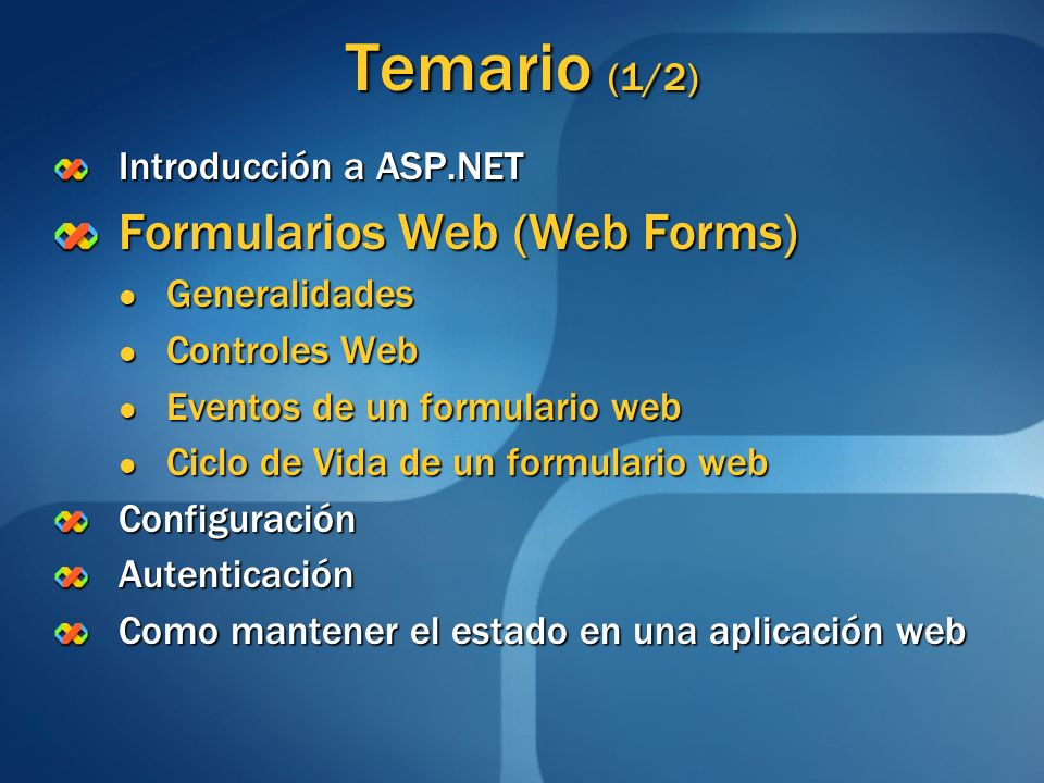 Temario (1/2) Introducción a ASP.NET Formularios Web (Web Forms) Generalidades Generalidades Controles Web Controles Web Eventos de un formulario web