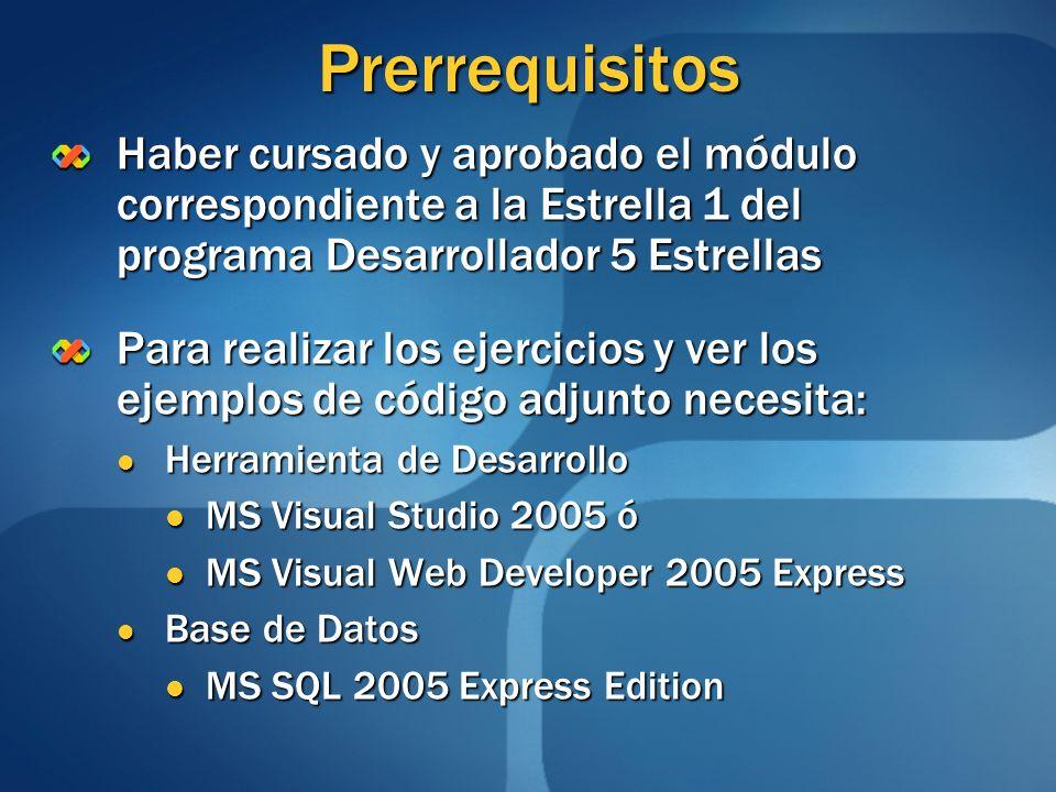 Prerrequisitos Haber cursado y aprobado el módulo correspondiente a la Estrella 1 del programa Desarrollador 5 Estrellas Para realizar los ejercicios