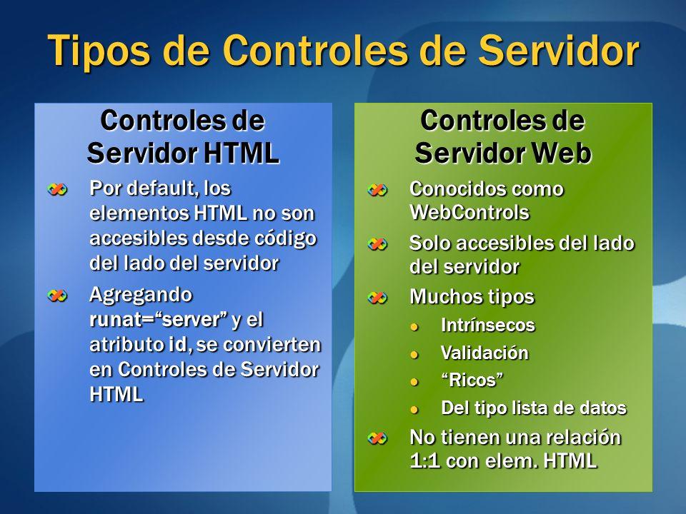 Tipos de Controles de Servidor Por default, los elementos HTML no son accesibles desde código del lado del servidor Agregando runat=server y el atribu