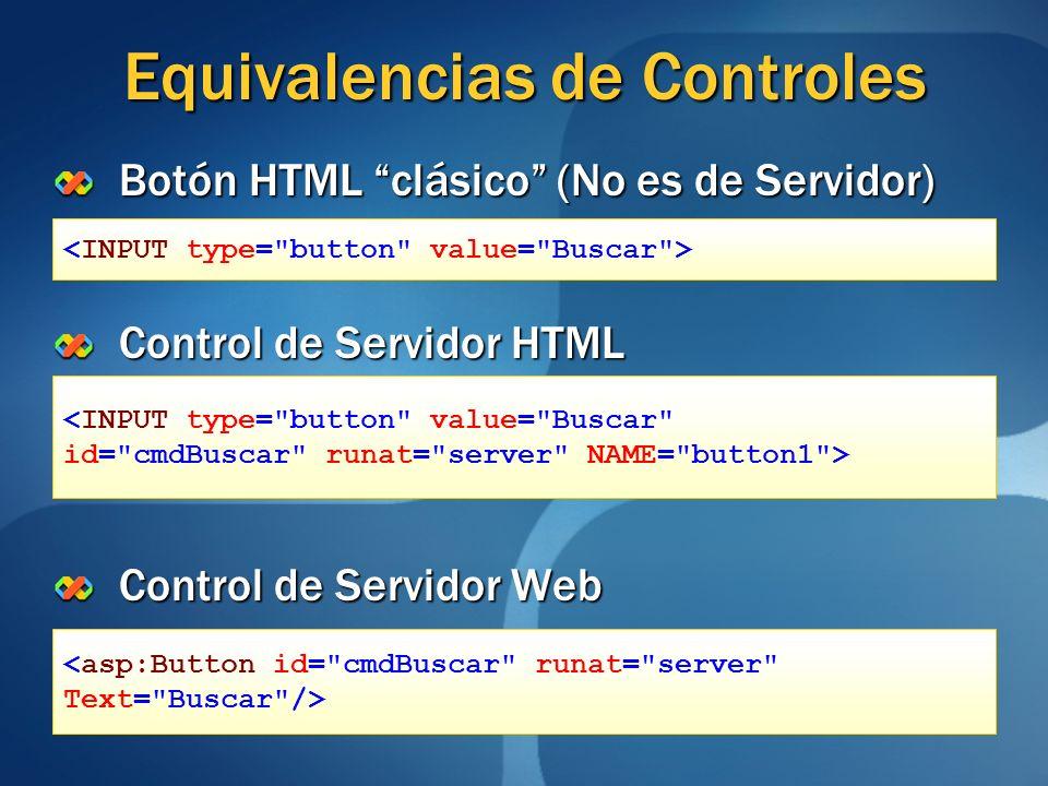 Equivalencias de Controles Botón HTML clásico (No es de Servidor) Control de Servidor HTML Control de Servidor Web <INPUT type=