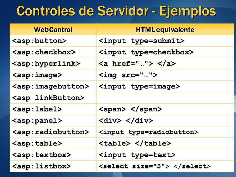Controles de Servidor - Ejemplos WebControl HTML equivalente <asp:button> <asp:checkbox> <asp:hyperlink> <asp:image> <asp:imagebutton> <asp:label> <as