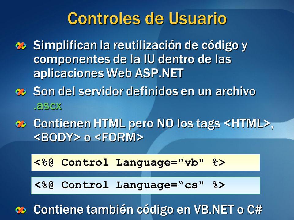 Controles de Usuario Simplifican la reutilización de código y componentes de la IU dentro de las aplicaciones Web ASP.NET Son del servidor definidos e