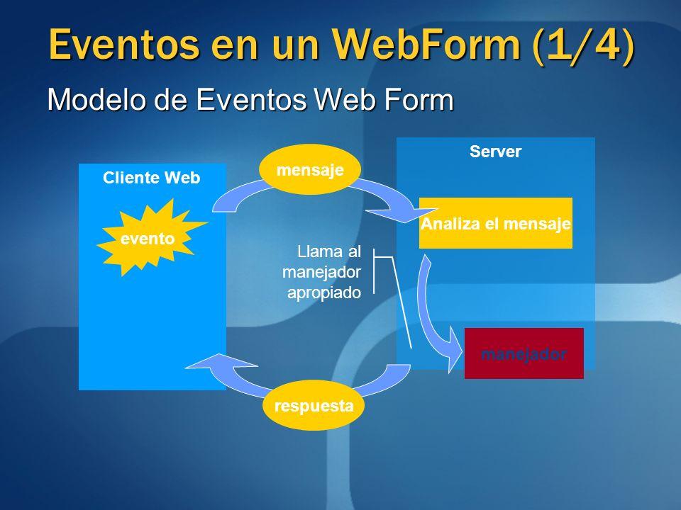 Eventos en un WebForm (1/4) Server Cliente Web Analiza el mensaje evento manejador mensaje respuesta Llama al manejador apropiado Modelo de Eventos We