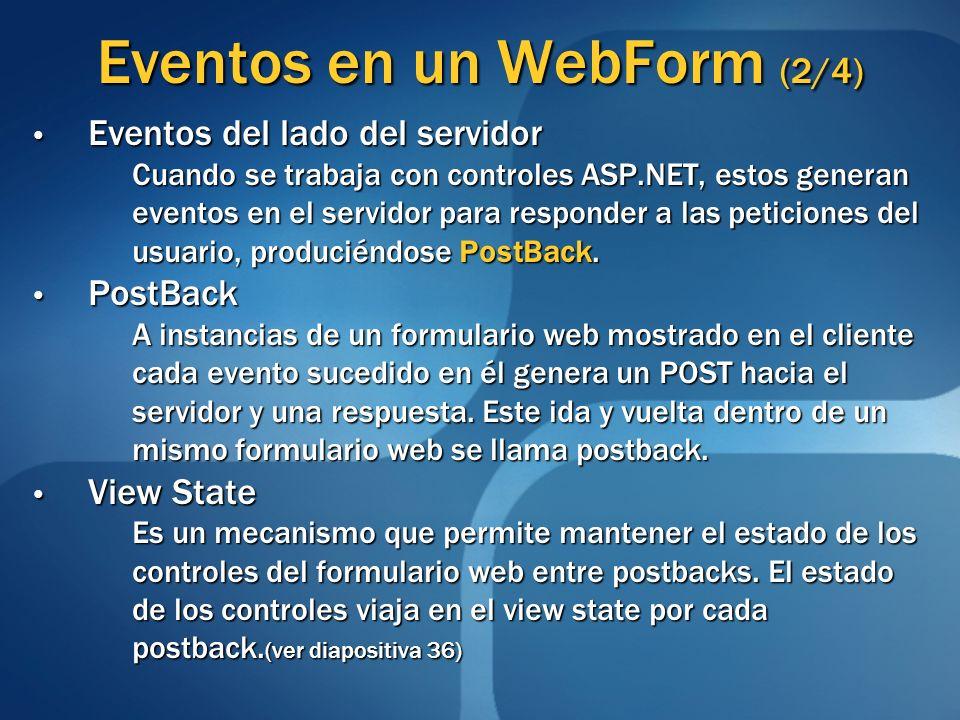 Eventos en un WebForm (2/4) Eventos del lado del servidor Eventos del lado del servidor Cuando se trabaja con controles ASP.NET, estos generan eventos