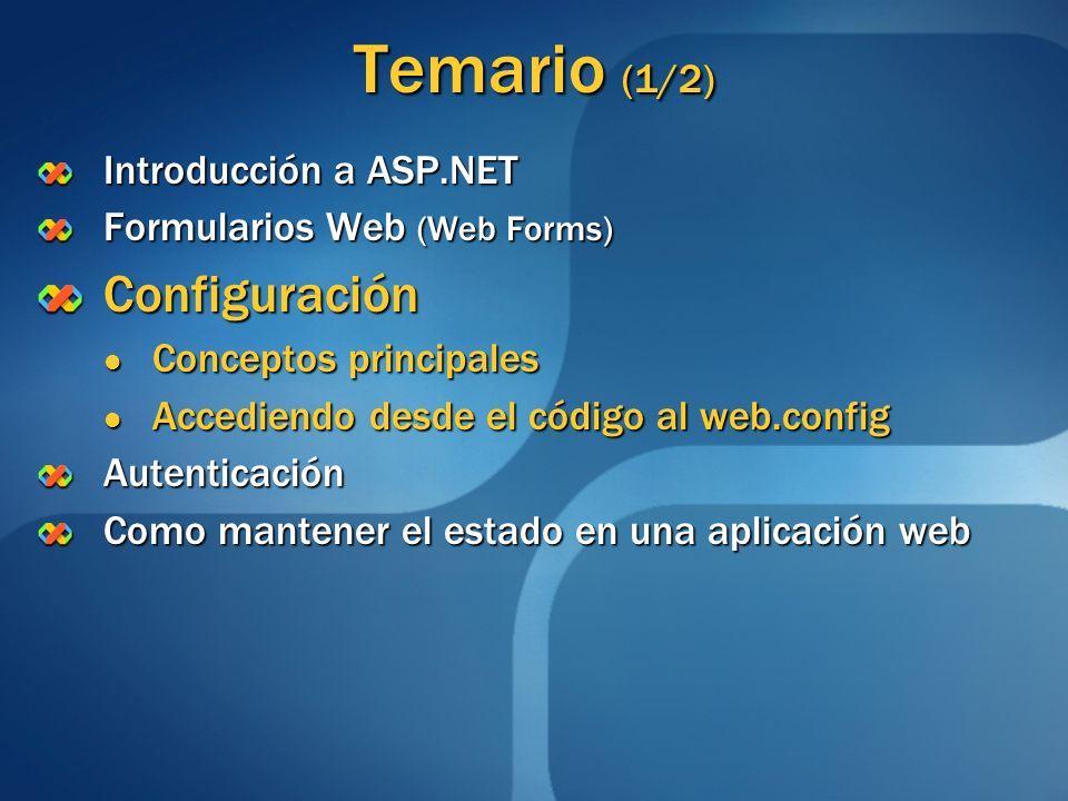 Temario (1/2) Introducción a ASP.NET Formularios Web (Web Forms) Configuración Conceptos principales Conceptos principales Accediendo desde el código