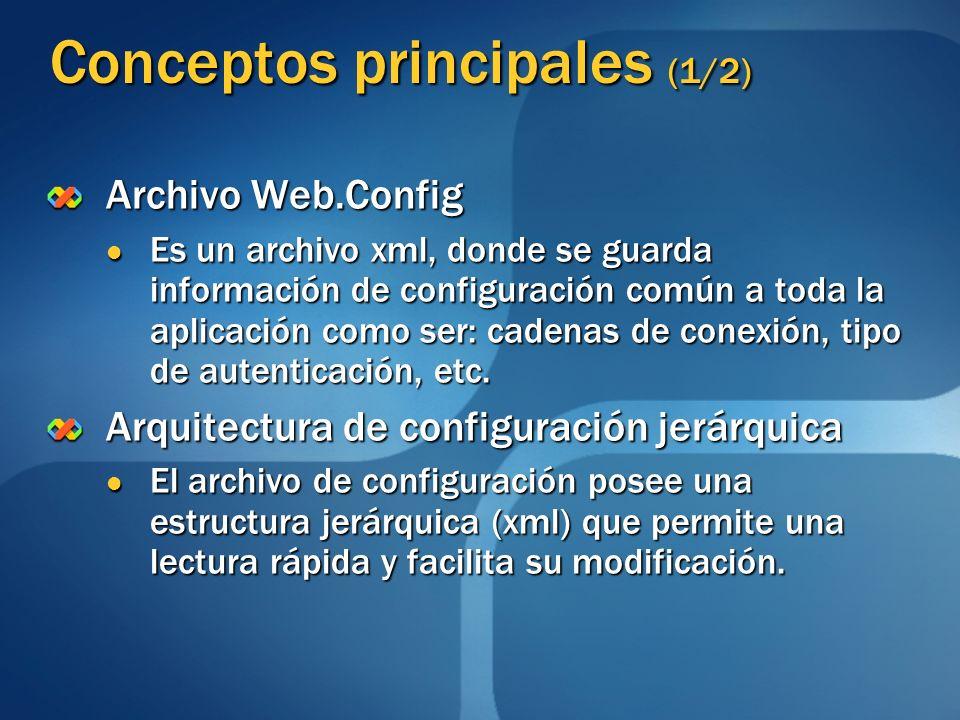 Conceptos principales (1/2) Archivo Web.Config Es un archivo xml, donde se guarda información de configuración común a toda la aplicación como ser: ca