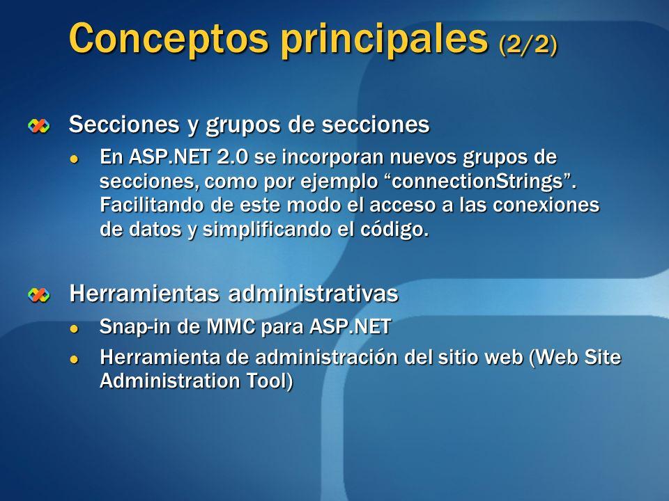 Conceptos principales (2/2) Secciones y grupos de secciones En ASP.NET 2.0 se incorporan nuevos grupos de secciones, como por ejemplo connectionString