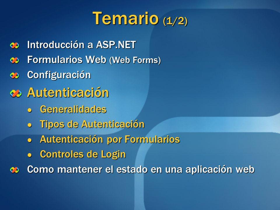 Temario (1/2) Introducción a ASP.NET Formularios Web (Web Forms) ConfiguraciónAutenticación Generalidades Generalidades Tipos de Autenticación Tipos d