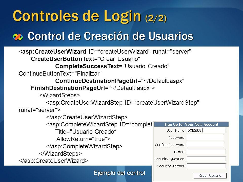 Controles de Login (2/2) Control de Creación de Usuarios <asp:CreateUserWizard ID=createUserWizard