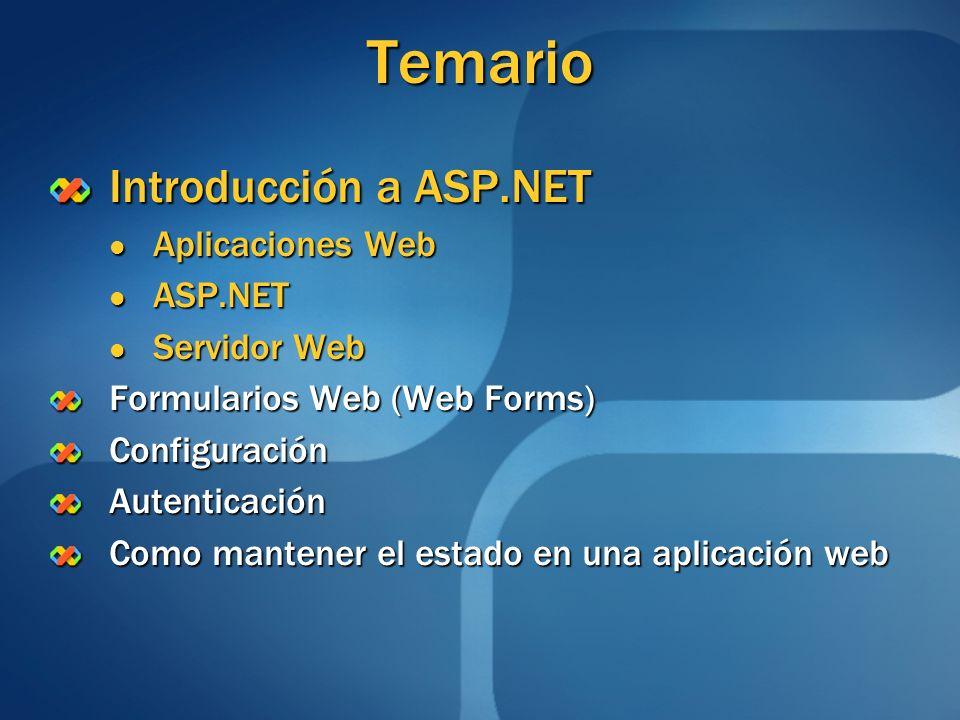 Temario (1/2) Introducción a ASP.NET Formularios Web (Web Forms) Configuración Conceptos principales Conceptos principales Accediendo desde el código al web.config Accediendo desde el código al web.configAutenticación Como mantener el estado en una aplicación web