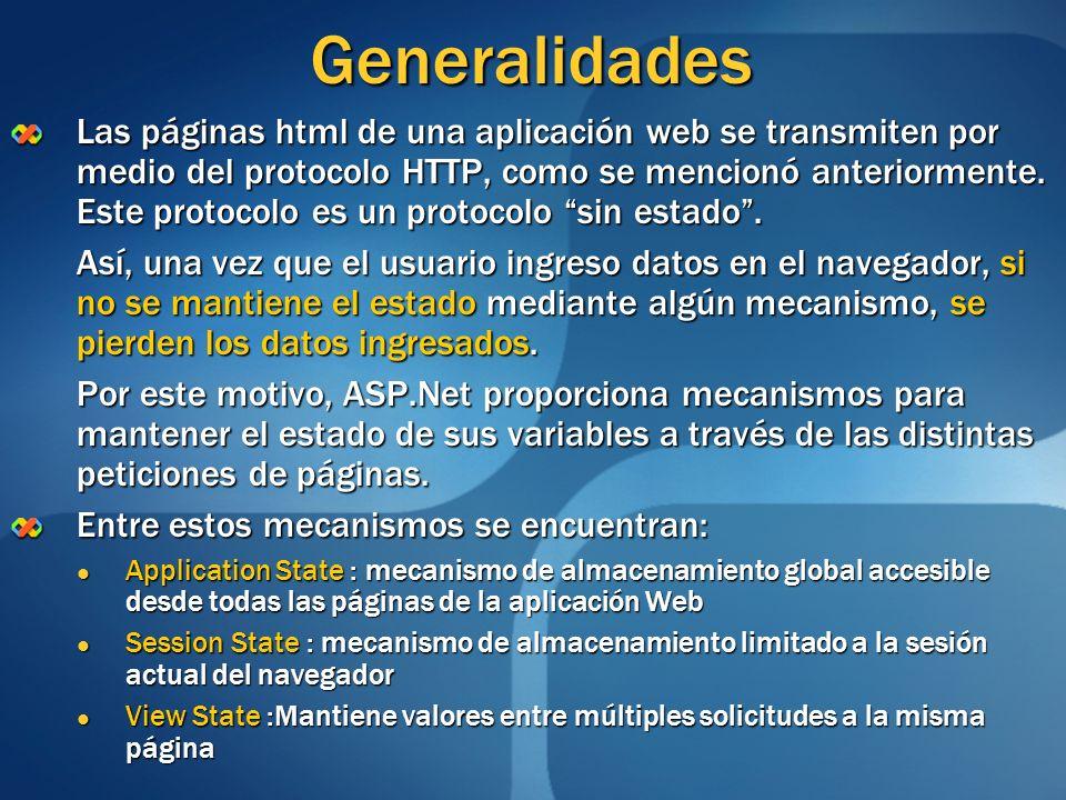 Generalidades Las páginas html de una aplicación web se transmiten por medio del protocolo HTTP, como se mencionó anteriormente. Este protocolo es un