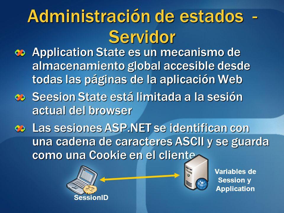 Application State es un mecanismo de almacenamiento global accesible desde todas las páginas de la aplicación Web Seesion State está limitada a la ses